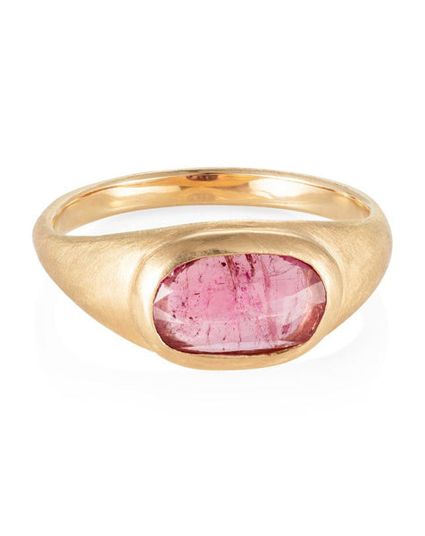 Pink Sapphire Star Signet Ring