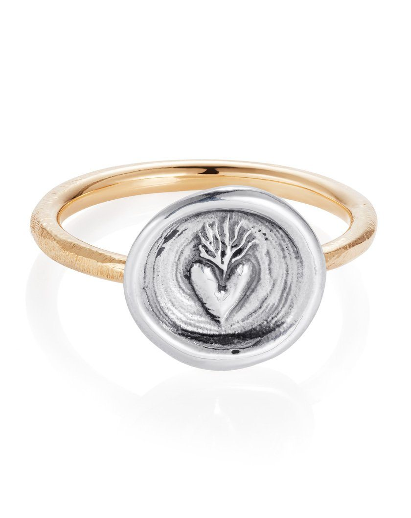 Hearts on Fire Ring - Antiqued Sterling Silver, 9ct Yellow Gold - Bespoke