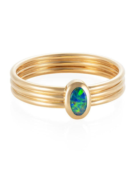 Oval Opal Triple Band Ring