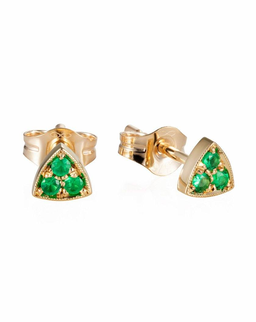 Tri Gem Studs Emeralds