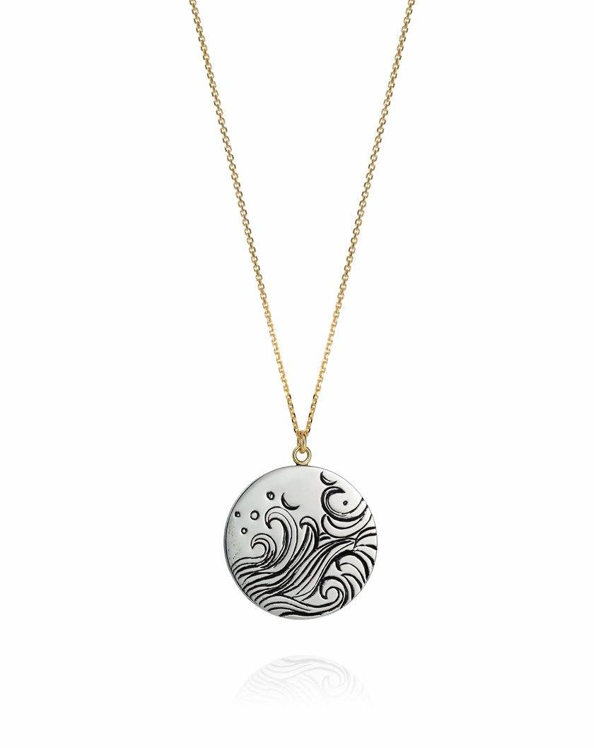 Sea Spray Coin Necklace Sterling Silver
