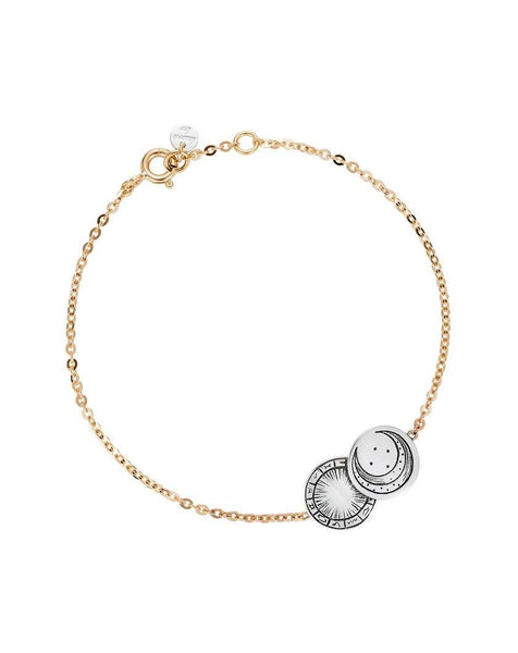 Mini Zodiac Luna Coin Bracelet Sterling Silver and 9ct Yellow Gold
