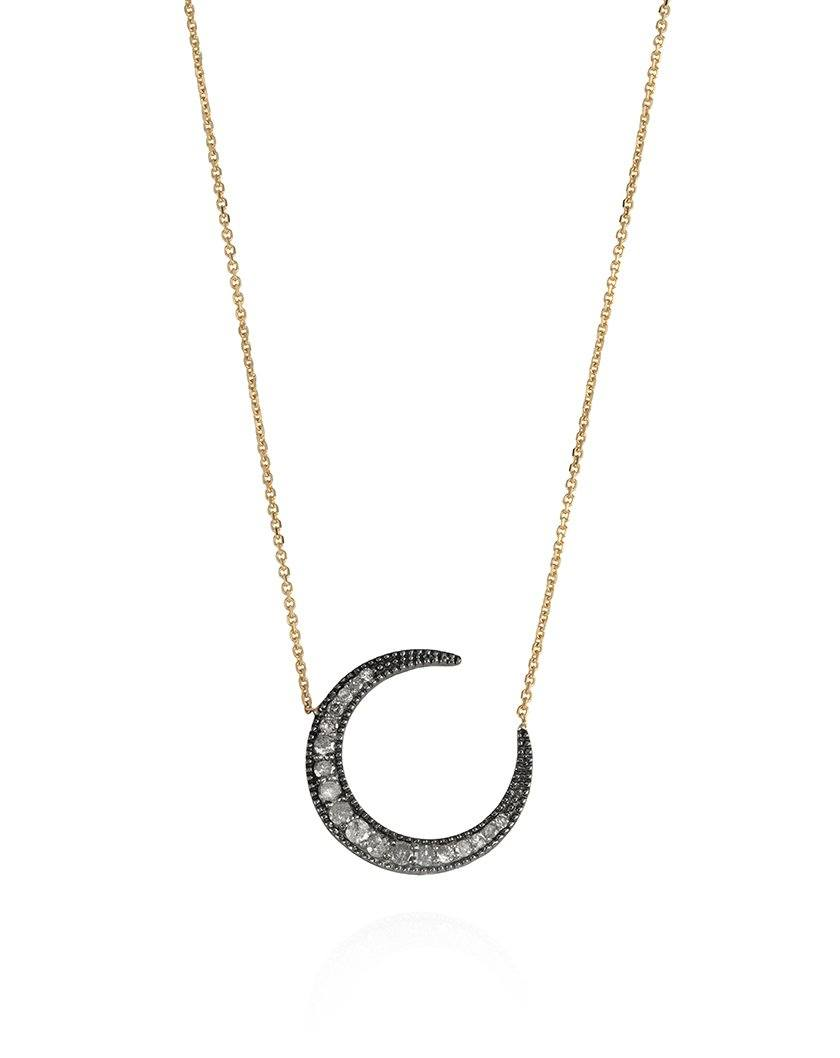 Midnight Moon Diamond Necklace Yellow Gold