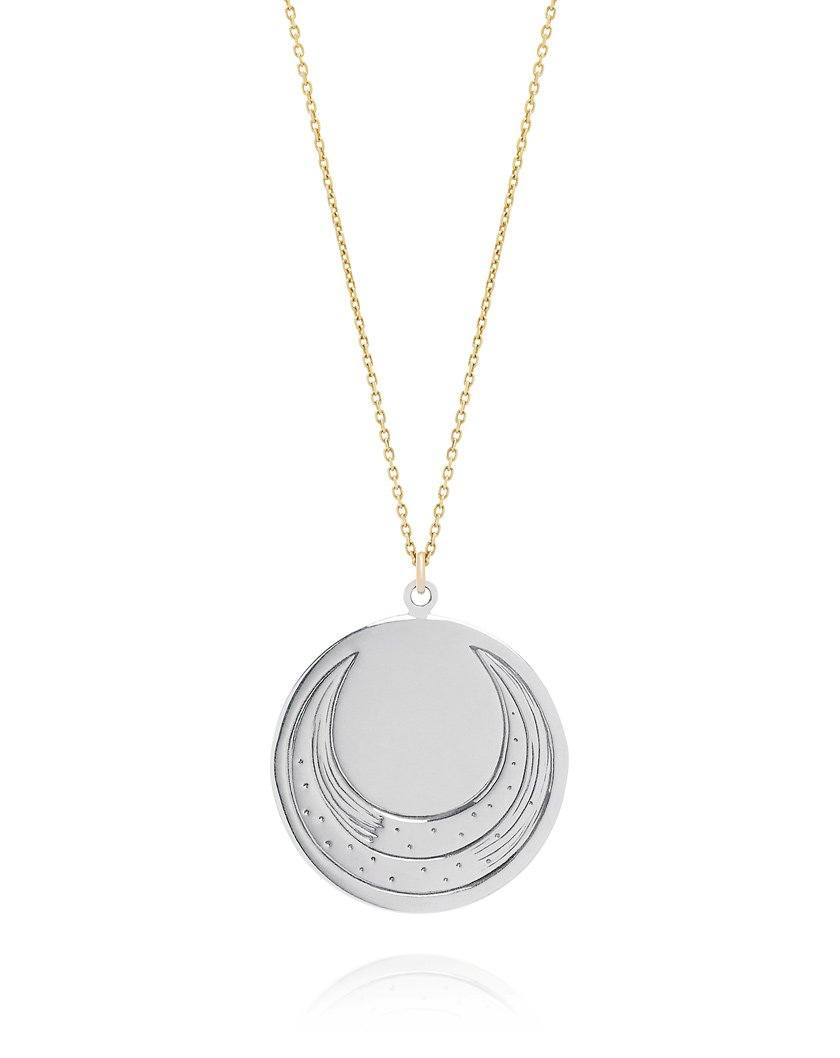 Luna Coin Necklace - Sterling Silver with a 9ct Yellow chain