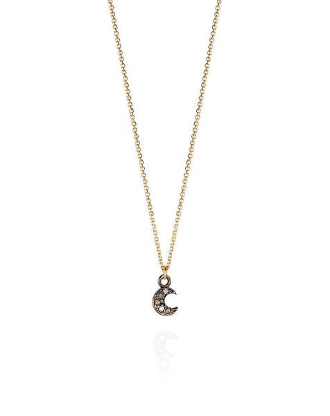 Diamond Set Moon Necklace