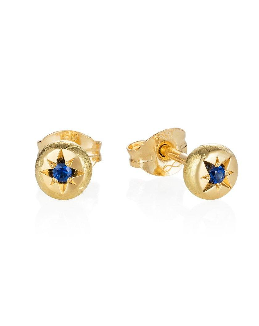 Organic Dot Earrings - 18ct Yellow Gold - Brilliant Cut Sapphires