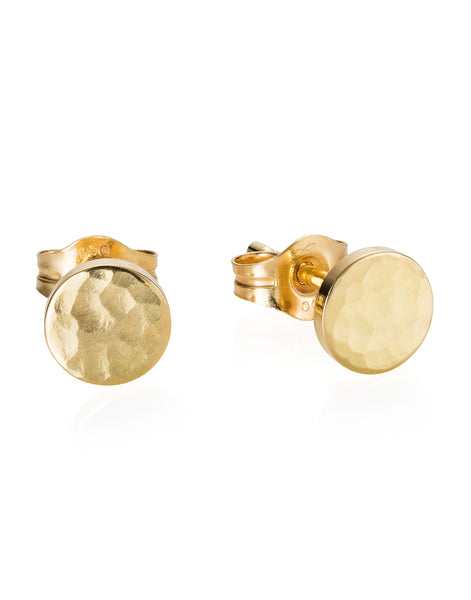 18ct Gold Medium Sequin Stud Earrings
