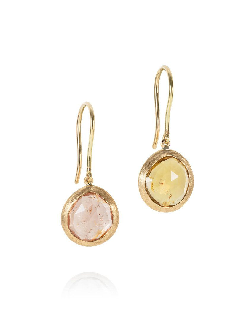 Mismatched Peachy & Olive Tourmaline Drop Earrings