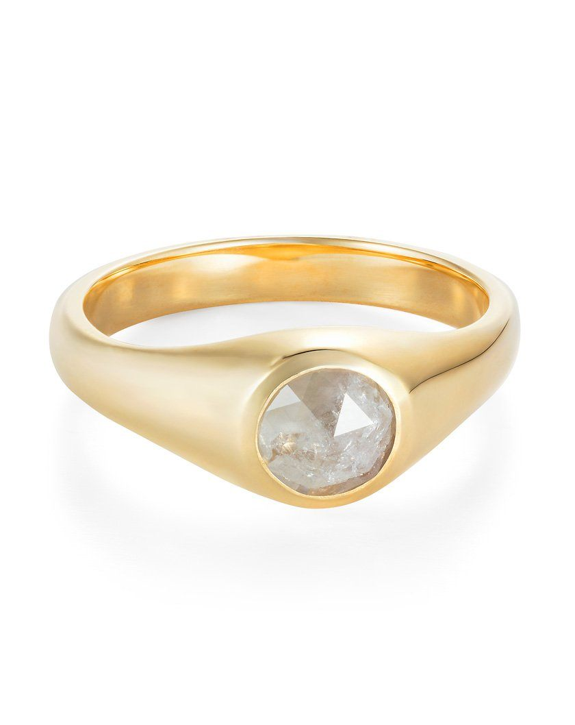 Rose Cut Diamond Signet Ring