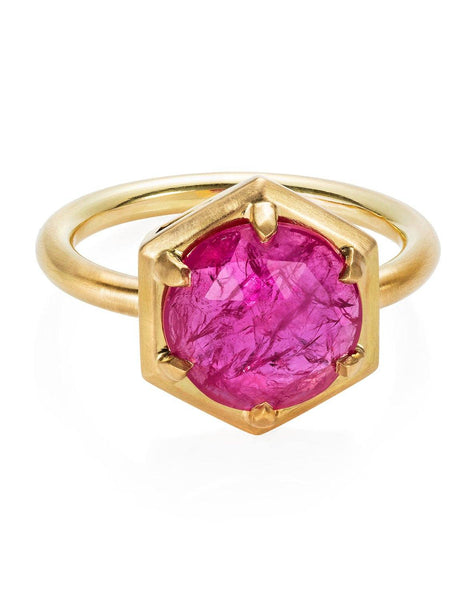Large Round Ruby Hexagon Ring