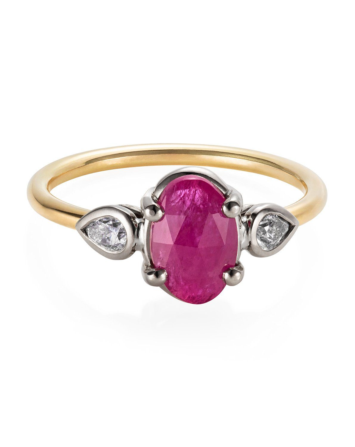 Ruby and Silver Diamond Trilogy Ring