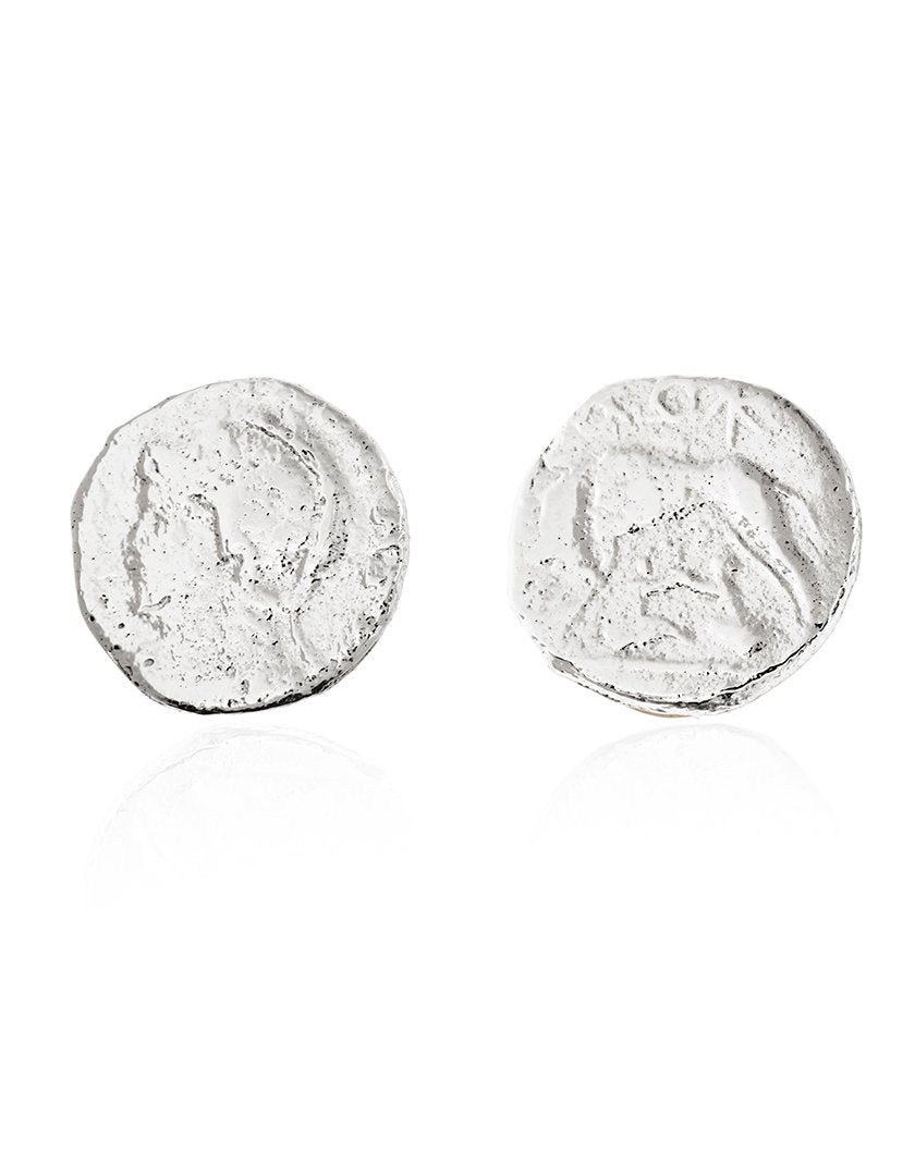 Wolf and Centurion Coin Stud Earring