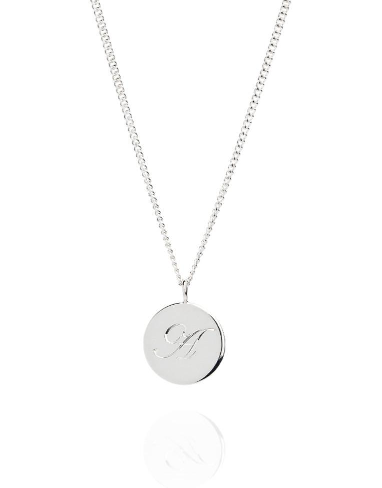 The Medium Initial Coin Necklace - Laura Lee Jewellery - 3 - Sterling Silver