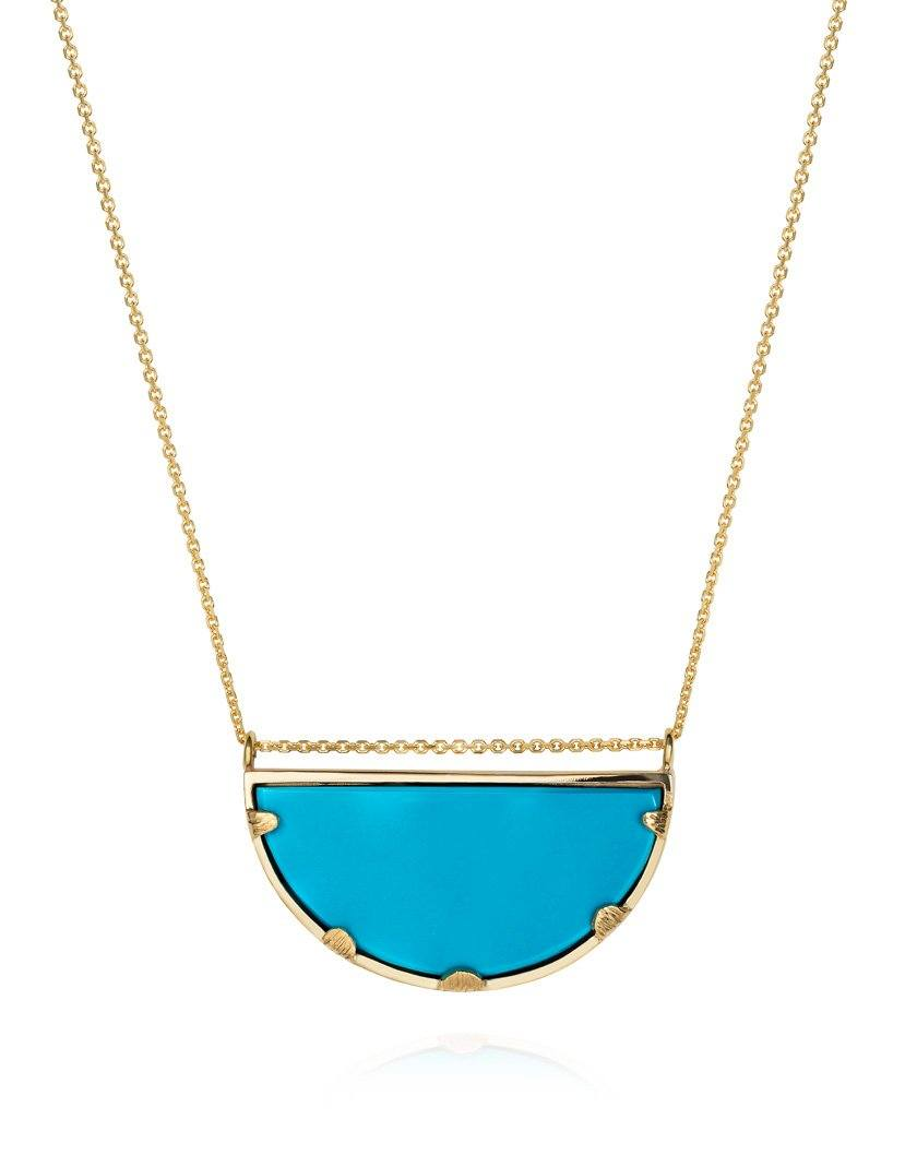 Super Half Moon Necklace Turquoise