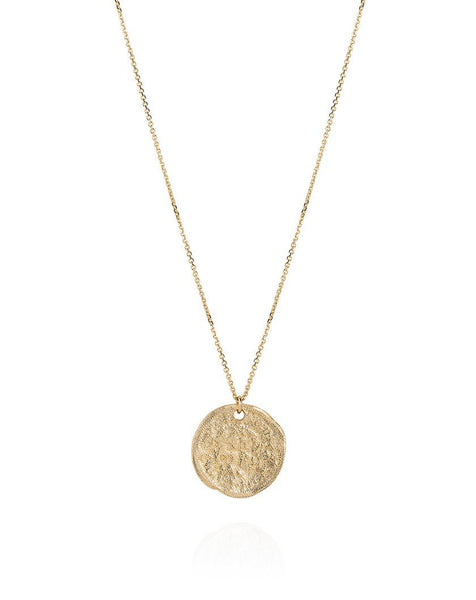 Threepence Weathered Coin Necklace - 9ct Yellow Gold