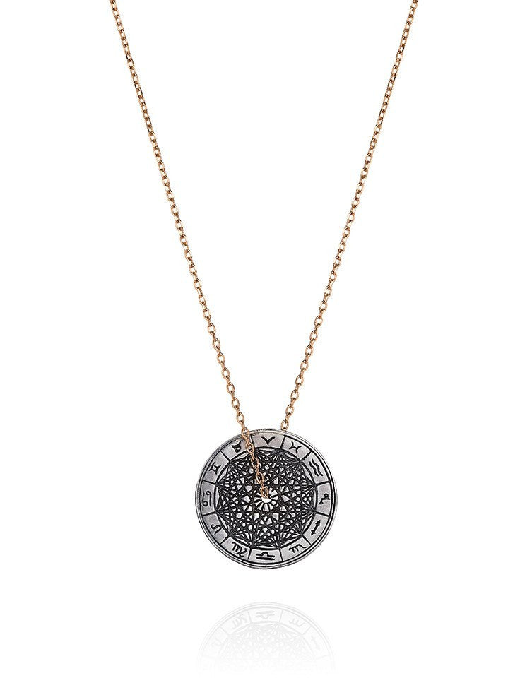 Antiqued Silver Zodiac Wheel Necklace - Laura Lee Jewellery - Sterling Silver