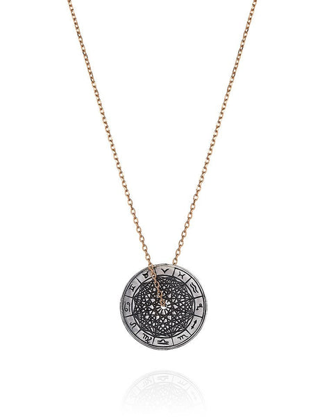 Antiqued Silver Zodiac Wheel Necklace - Laura Lee Jewellery - 1
