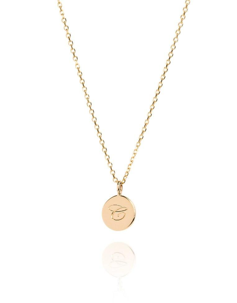 The Small Initial Coin Necklace - Laura Lee Jewellery - 9ct Yellow Gold