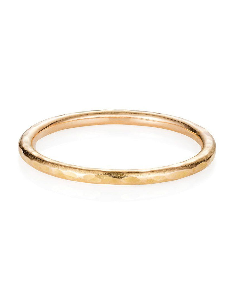 18ct Gold 1.5mm Hand Hammered Wedding Band
