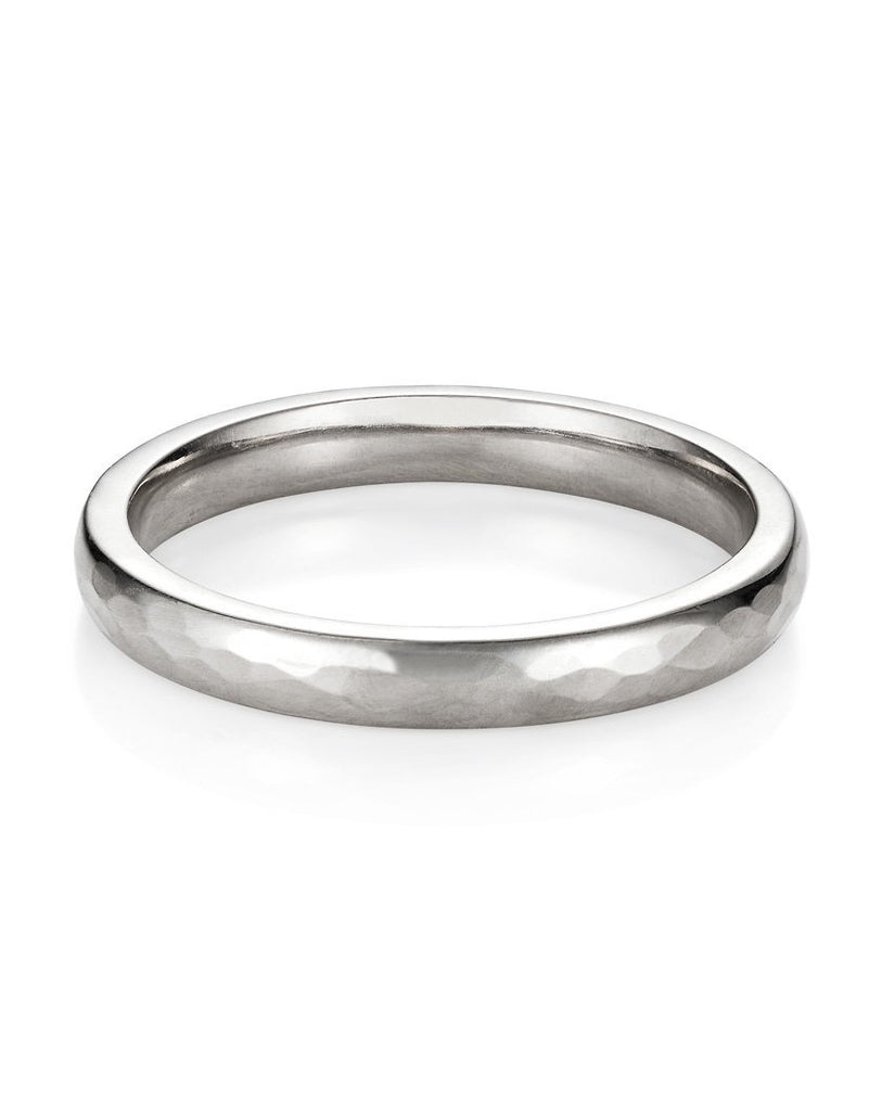 18ct Gold 3mm Hand Hammered Wedding Band