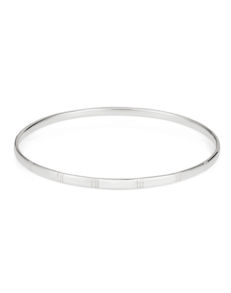 Banded Bangle in Silver - Laura Lee Jewellery - 1