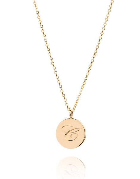 The Medium Initial Coin Necklace - Laura Lee Jewellery - 1 - 9ct Yellow Gold