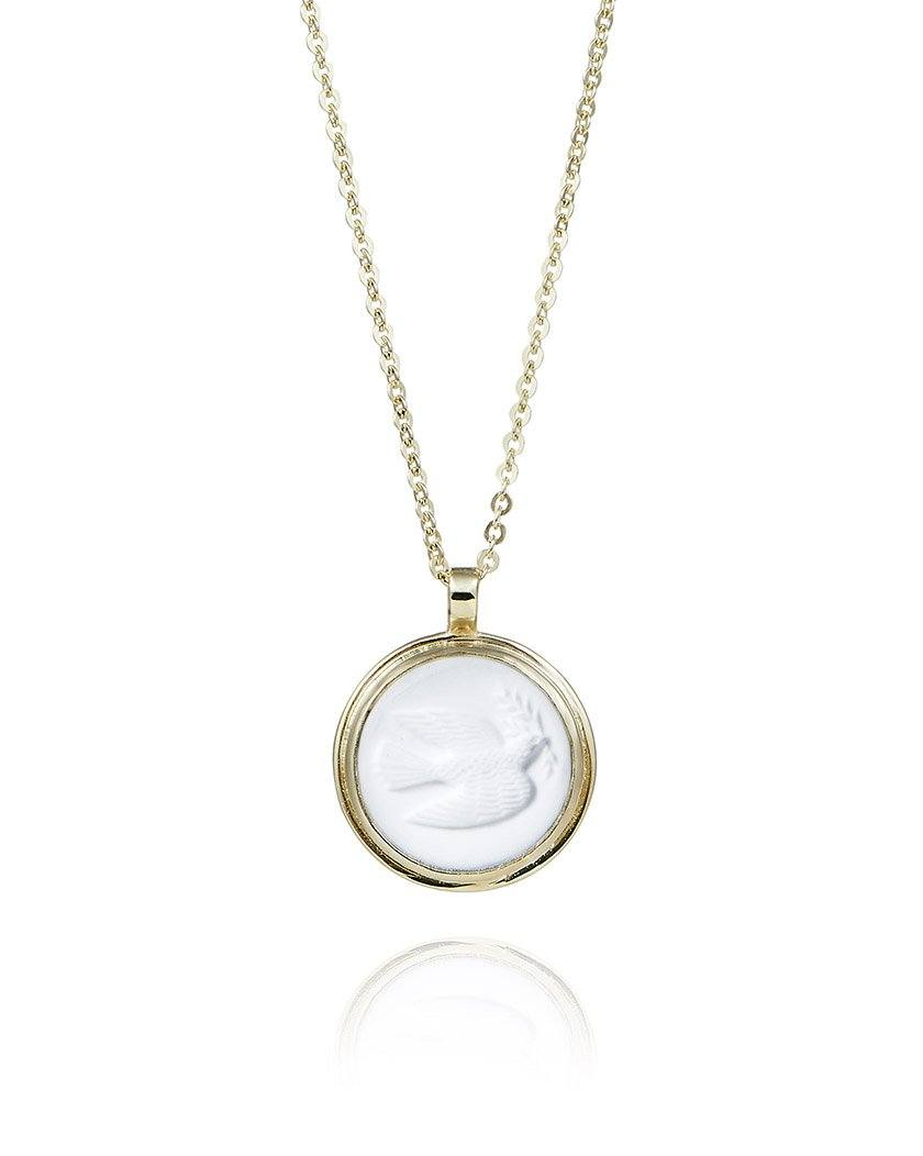 White Dove Cameo Necklace