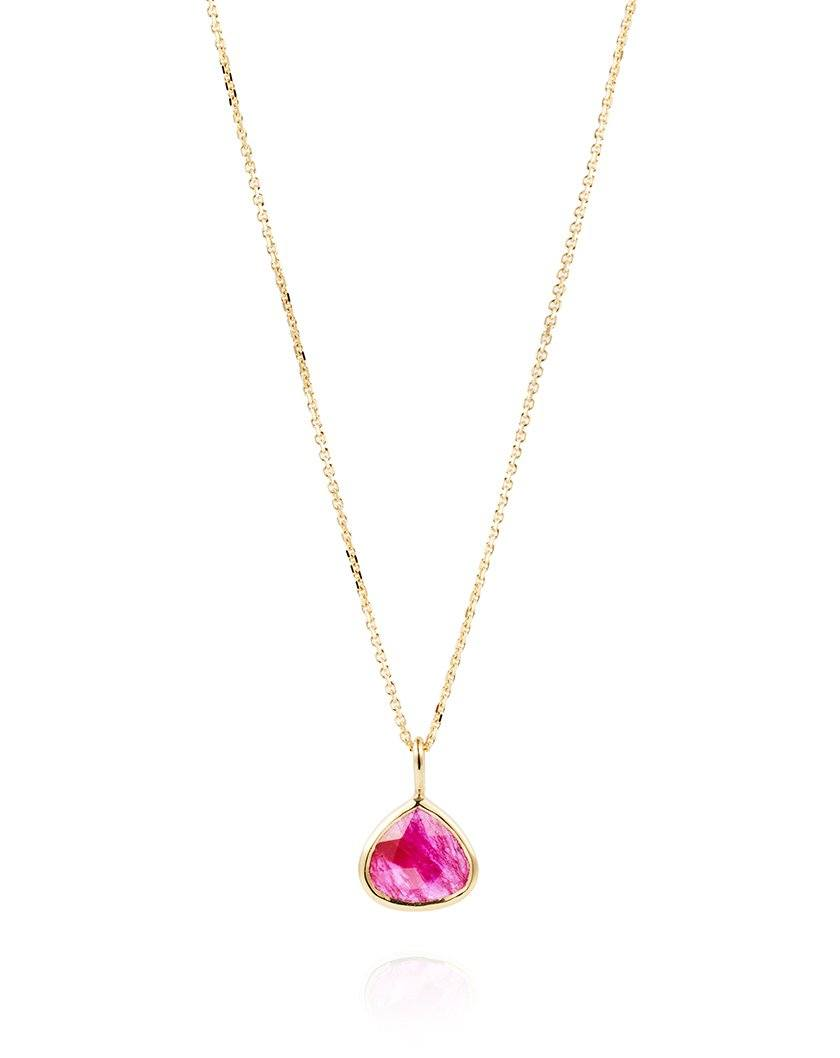 Inverted Heart Shaped Ruby Drop Necklace