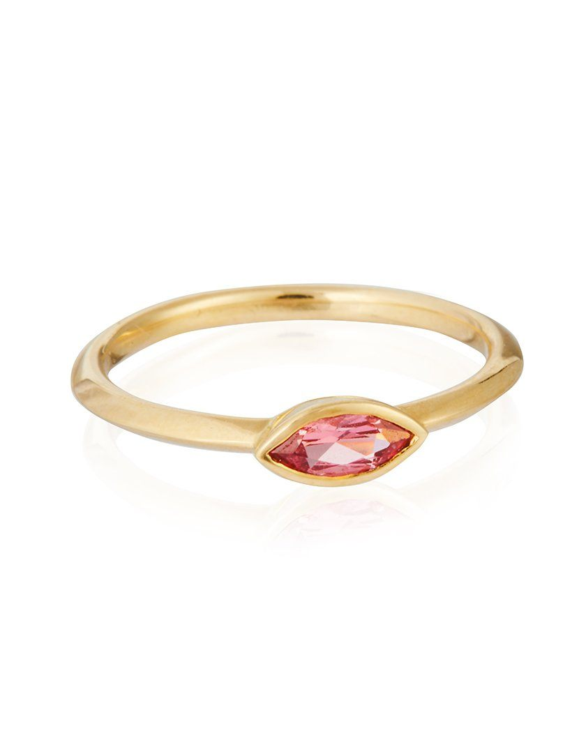 18ct Gold Pink Spinel Marquise Ring