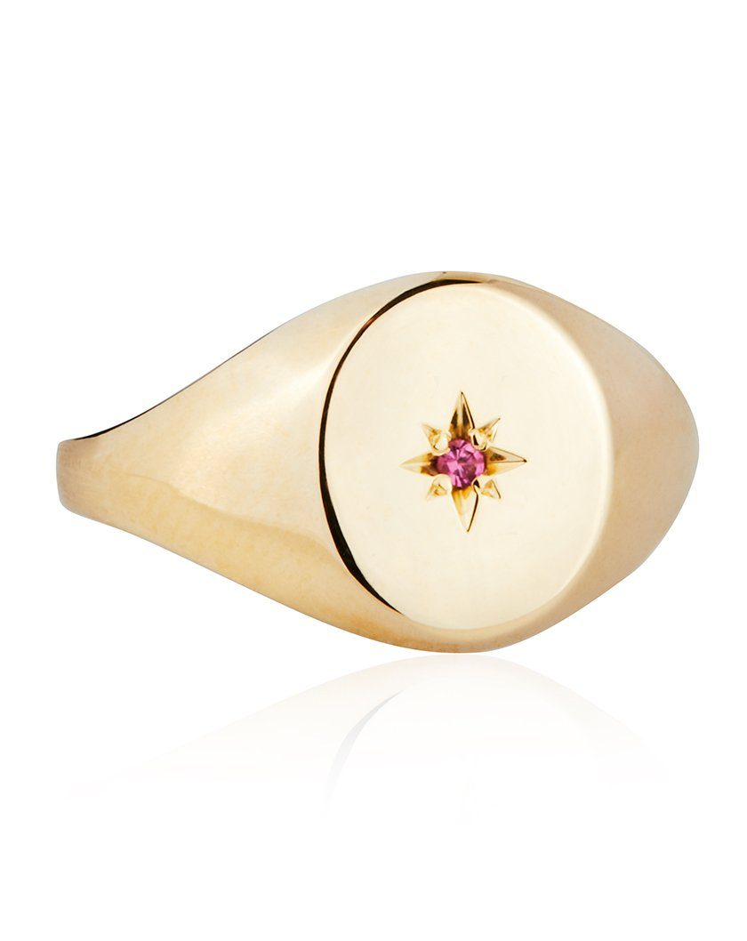 Star Set Mini Signet Ring