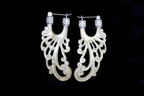 Water Earrings - Light Mother of Pearl - Silver Plated Bail