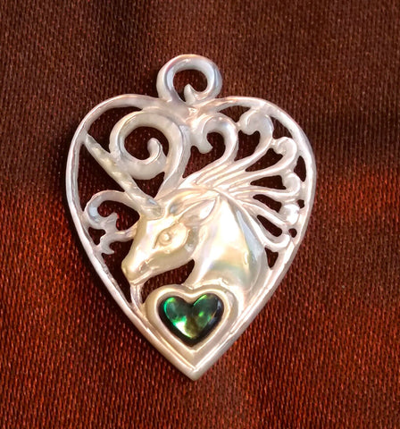 Unicorn Guitar Pick Pendant - Light Mother of Pearl
