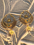 Shakti Bhakti Earrings with Star Tetrahedron - 24K Gold Plated - Labradorite