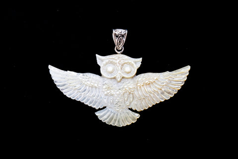 Owl Pendant - Light Mother of Pearl - Silver Plated Bail