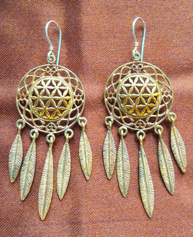 Flower of Life Dreamcatcher Earrings - Brass