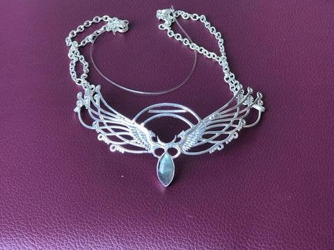 Wing Tiara - Silver Plated - Labradorite ~ Unicorn Horn INCLUDED!!