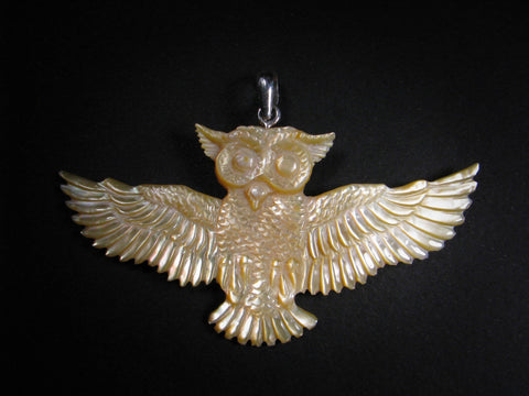 Owl Pendant - Light Mother of Pearl - Brass Bail