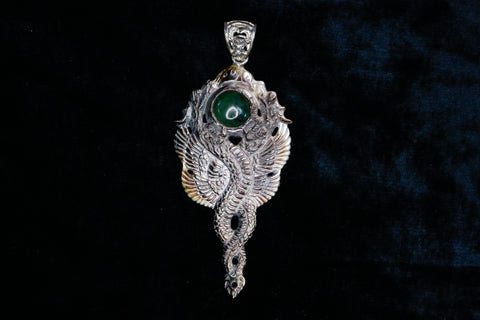 Kundalini Dragon Pendant - Dark Mother of Pearl ~ Mount Shasta Jade