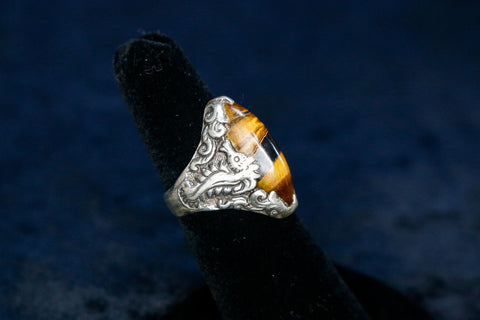 Seahorse Ring - Sterling Silver - Tiger's Eye