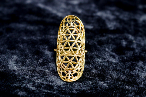 Flower of Life Ring - Long - Brass