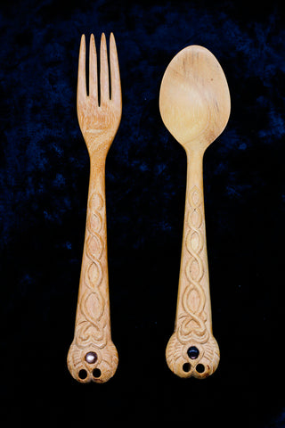 Ornate Hand-Carved Wooden Fork & Spoon