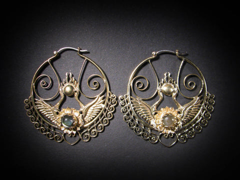 Shakti Bhakti Earrings - Brass - Labradorite