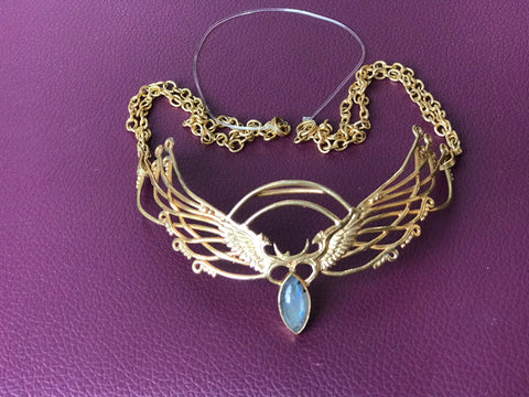 Wing Tiara - 24K Gold Plated - Labradorite ~ Unicorn Horn INCLUDED!!