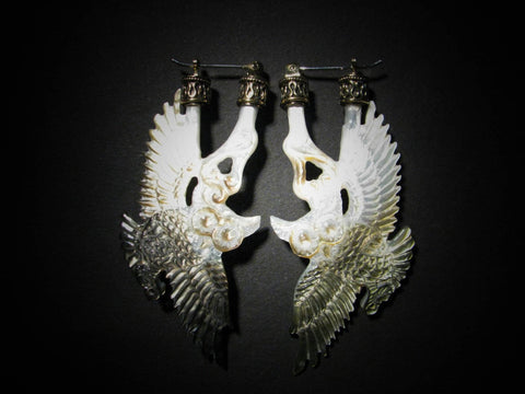 Owl Earrings - Dark Mother of Pearl - Brass Bail
