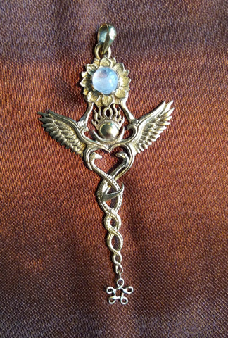 Creation Pendant - Brass - Rainbow Moonstone