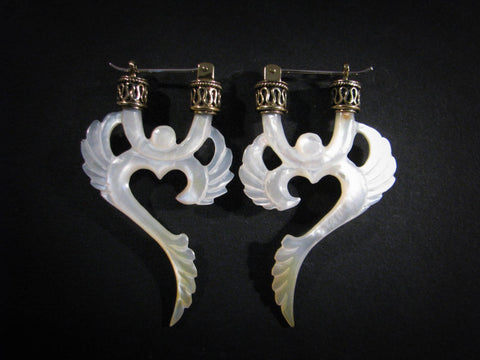 Winged Om Earrings - Light Mother of Pearl - Brass Bail