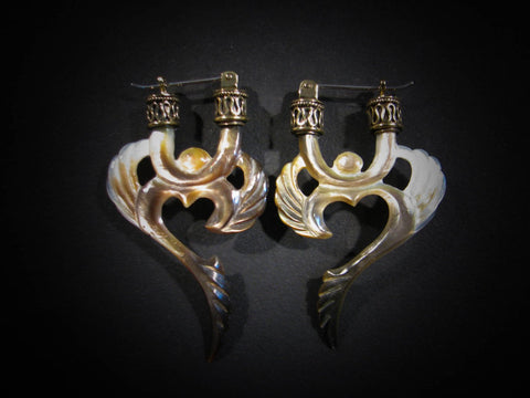 Winged Om Earrings - Dark Mother of Pearl - Brass Bail