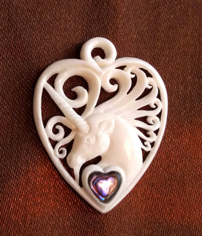Unicorn Guitar Pick Pendant - Bone