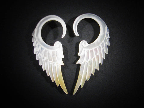 Angel Wing Gauged Earrings - Light Mother of Pearl - 8g/3mm