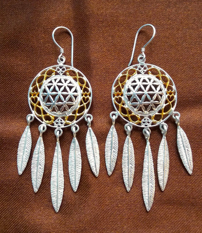 Flower of Life Dreamcatcher Earrings - Sterling Silver / 24K Gold Vermeil